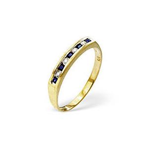Photo of Sapphire & 0.09CT Diamond Ring 9K Yellow Gold Jewellery Woman