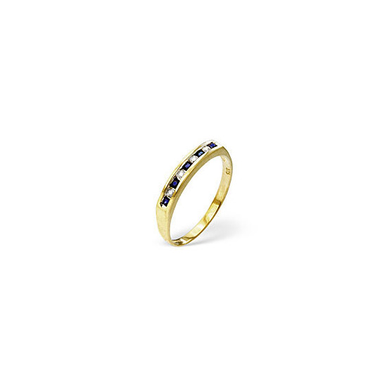 Sapphire & 0.09CT Diamond Ring 9K Yellow Gold