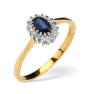 Photo of Sapphire & 0.05CT Diamond Ring 9K Yellow Gold Jewellery Woman