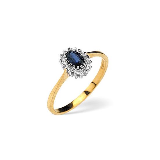 Sapphire & 0.05CT Diamond Ring 9K Yellow Gold