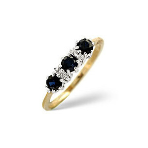 Photo of Sapphire & 0.01CT Diamond Ring 9K Yellow Gold Jewellery Woman