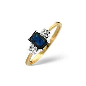Photo of Sapphire & 0.06CT Diamond Ring 9K Yellow Gold Jewellery Woman