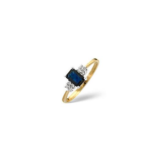 Sapphire & 0.06CT Diamond Ring 9K Yellow Gold