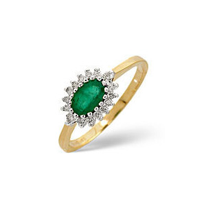Photo of Emerald & 0.14CT Diamond Ring 9K Yellow Gold Jewellery Woman