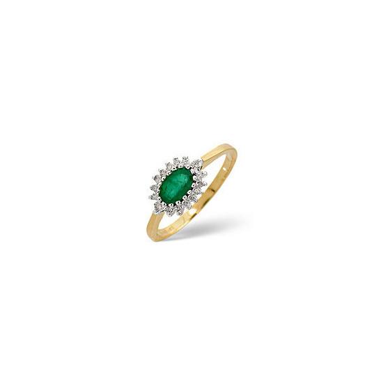 Emerald & 0.14CT Diamond Ring 9K Yellow Gold