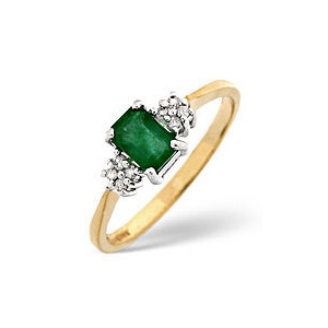 Photo of Emerald & 0.06CT Diamond Ring 9K Yellow Gold Jewellery Woman