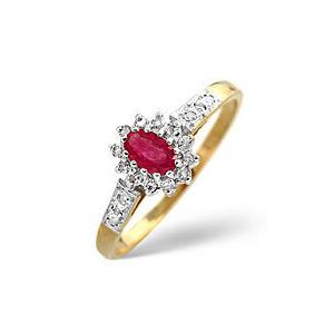 Photo of The Diamond Store Ruby 0 14CT Diamond Ring 9K Yellow Gold Jewellery Woman