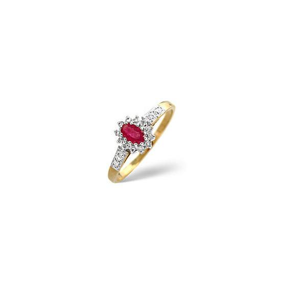 The Diamond Store Ruby 0 14CT Diamond Ring 9K Yellow Gold
