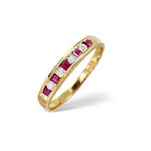 Photo of Ruby & 0.09CT Diamond Ring 9K Yellow Gold Jewellery Woman