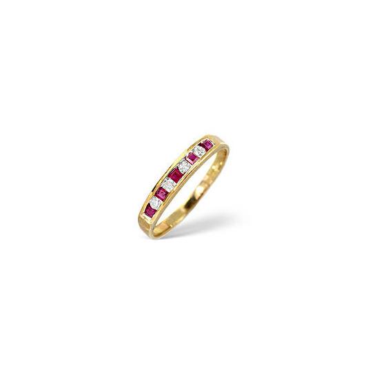Ruby & 0.09CT Diamond Ring 9K Yellow Gold