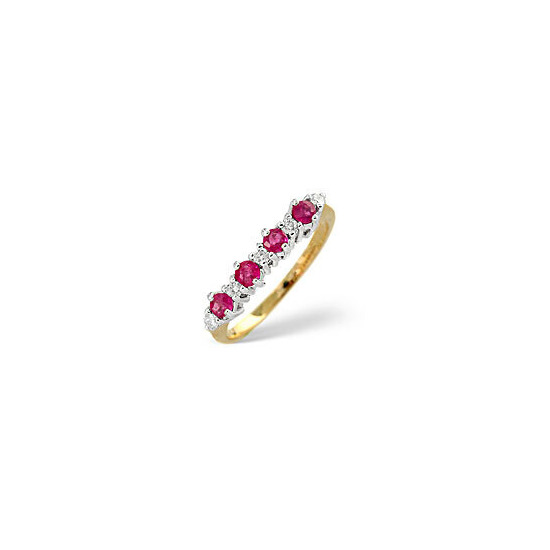 The Diamond Store Ruby 0 15CT Diamond Ring 9K Yellow Gold