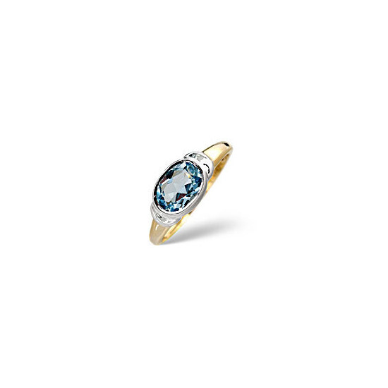 Topaz Ring Blue 9K Yellow Gold
