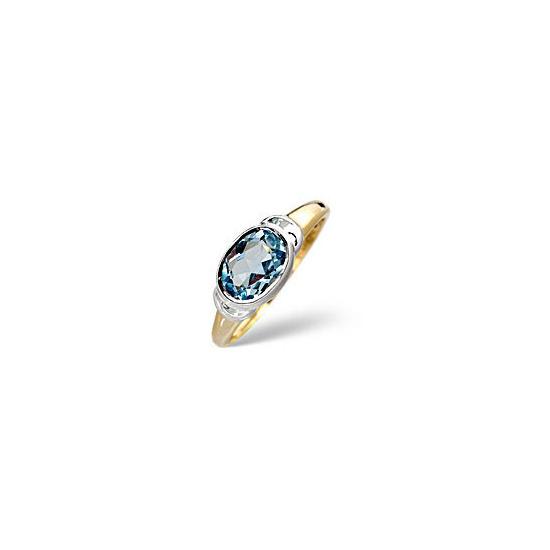 Topaz Ring Blue 9K Yellow Gold