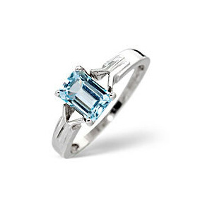 Photo of Blue Topaz Ring  Sky Blue Topaz 9K White Gold Jewellery Woman