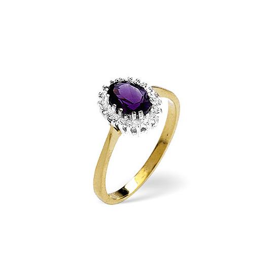 Amethyst & 0.06CT Diamond Ring 9K Yellow Gold