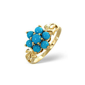 Photo of Turquoise Ring  Turquoise 9K Yellow Gold Jewellery Woman