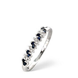 Sapphire & 0.06CT Diamond Ring 9K White Gold Reviews