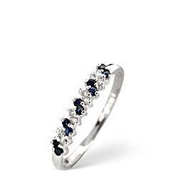 Sapphire & 0.06CT Diamond Ring 9K White Gold Reviews