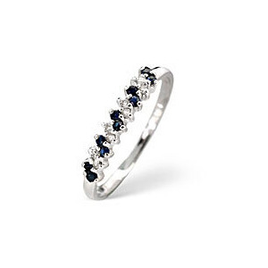 Photo of Sapphire & 0.06CT Diamond Ring 9K White Gold Jewellery Woman
