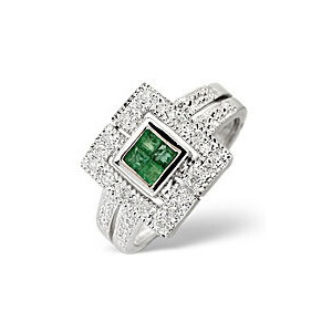 Photo of Emerald & 0.11CT Diamond Ring 9K White Gold Jewellery Woman
