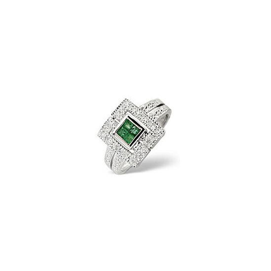 Emerald & 0.11CT Diamond Ring 9K White Gold