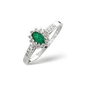 Photo of Emerald & 0.14CT Diamond Ring 9K White Gold Jewellery Woman