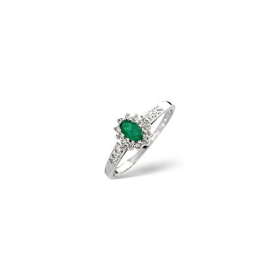 Emerald & 0.14CT Diamond Ring 9K White Gold