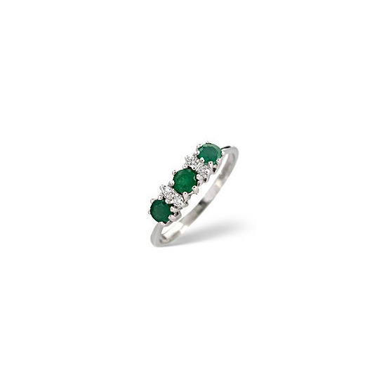 The Diamond Store Emerald 0 06CT Diamond Ring 9K White Gold