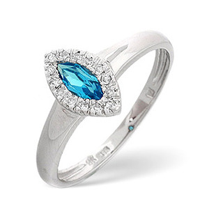 Photo of Blue Topaz & 0.06CT Diamond Ring 9K White Gold Jewellery Woman