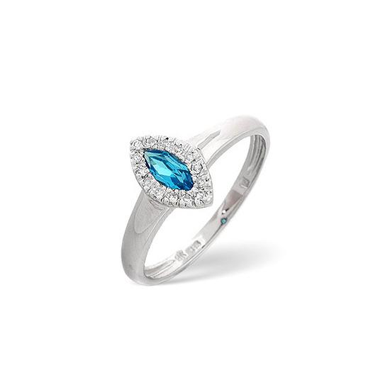 Blue Topaz & 0.06CT Diamond Ring 9K White Gold