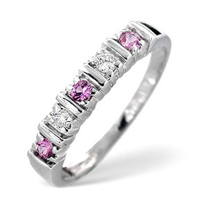 Photo of Pink Sapphire & 0.08CT Diamond Ring 9K White Gold Jewellery Woman