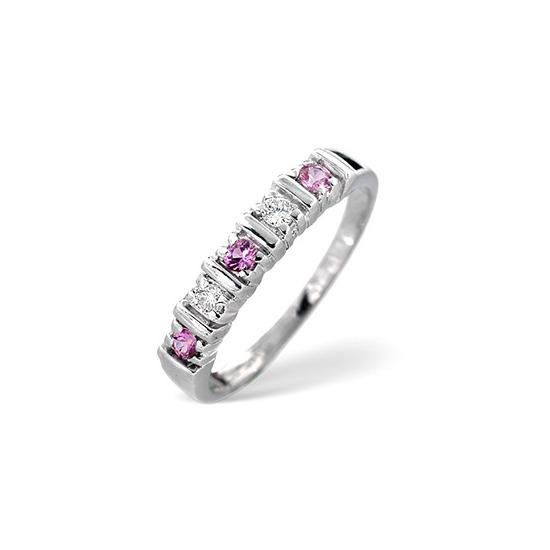 Pink Sapphire & 0.08CT Diamond Ring 9K White Gold