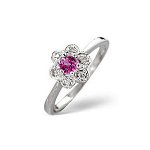 Photo of The Diamond Store Pink Sapphire 0 06CT Diamond Ring 9K White Gold Jewellery Woman