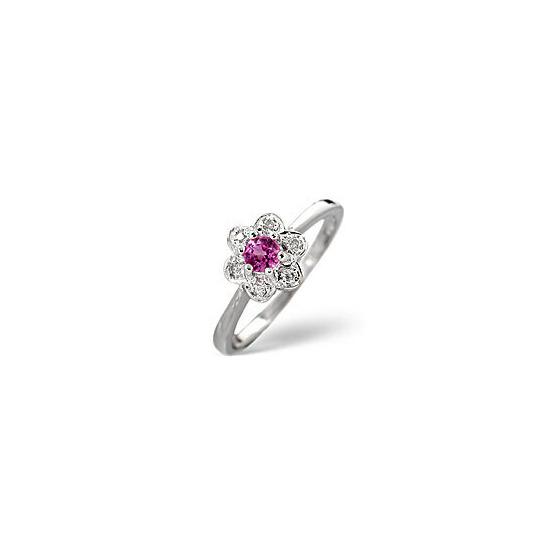 The Diamond Store Pink Sapphire 0 06CT Diamond Ring 9K White Gold