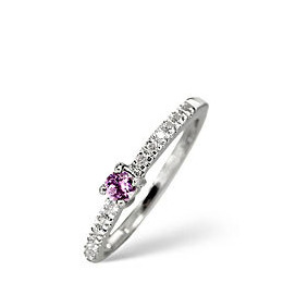 Pink Sapphire & 0.10CT Diamond Ring 9K White Gold Reviews