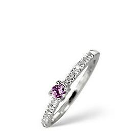 Pink Sapphire & 0.10CT Diamond Ring 9K White Gold Reviews