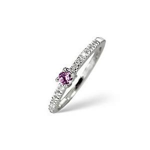 Photo of Pink Sapphire & 0.10CT Diamond Ring 9K White Gold Jewellery Woman