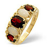 Photo of Opal &  Garnet Ring 9K Yellow Gold Jewellery Woman