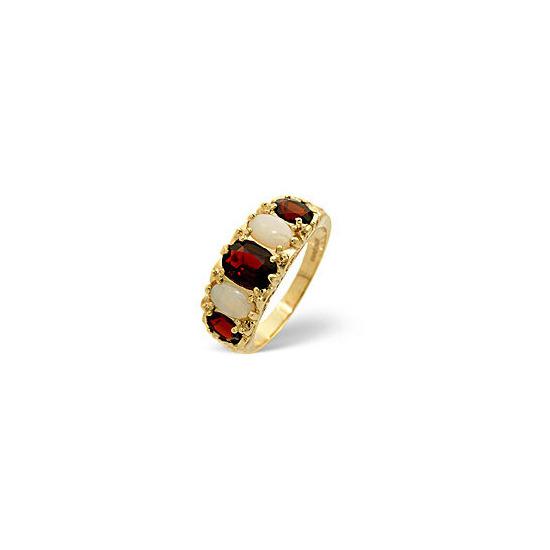 Opal &  Garnet Ring 9K Yellow Gold