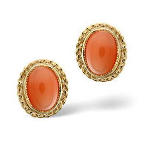 Photo of Coral Earrings  Coral 9K Yellow Gold Jewellery Woman