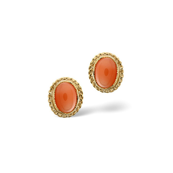 Coral Earrings  Coral 9K Yellow Gold