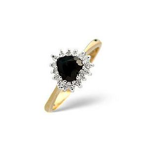 Photo of Sapphire & 0.12CT Diamond Ring 9K Yellow Gold Jewellery Woman