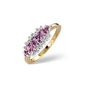 Photo of The Diamond Store Pink Sapphire 0 12CT Diamond Ring 9K Yellow Gold Jewellery Woman