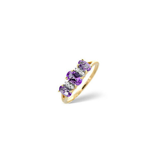 The Diamond Store Amethyst 0 03CT Diamond Ring 9K Yellow Gold