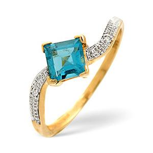 Photo of Blue Topaz & 0.01CT Diamond Ring 9K Yellow Gold Jewellery Woman