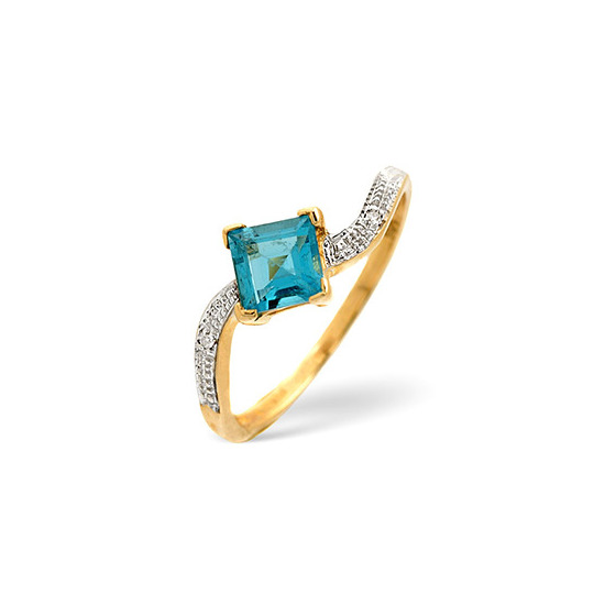 Blue Topaz & 0.01CT Diamond Ring 9K Yellow Gold