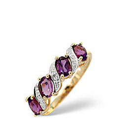Amethyst & 0.01CT Diamond Ring 9K Yellow Gold Reviews