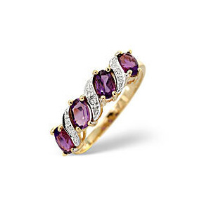 Photo of Amethyst & 0.01CT Diamond Ring 9K Yellow Gold Jewellery Woman