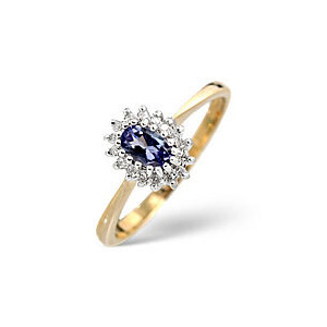 Photo of The Diamond Store Tanzanite 0 05CT Diamond Ring 9K Yellow Gold Jewellery Woman
