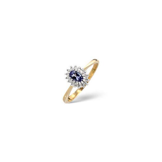 The Diamond Store Tanzanite 0 05CT Diamond Ring 9K Yellow Gold